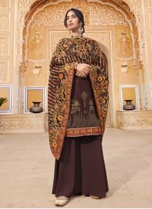 Faux Georgette Embroidered Wine Designer Pakistani Salwar Suit