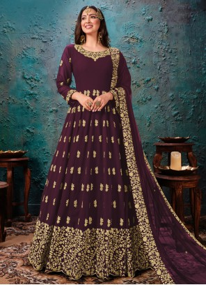 Faux Georgette Embroidered Wine Trendy Salwar Kameez