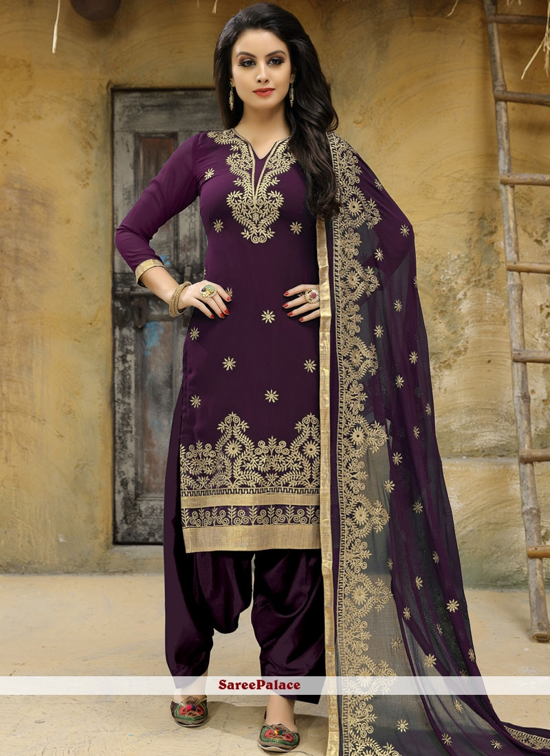 Faux Georgette Embroidered Work Punjabi Suit