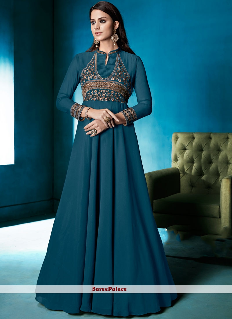 Faux Georgette Embroidered Work Readymade Anarkali Suit