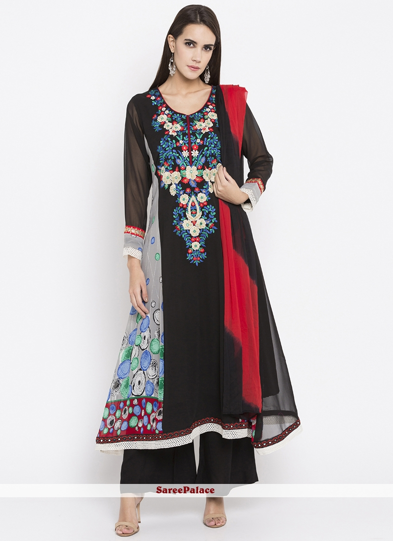 Faux Georgette Embroidered Work Readymade Suit