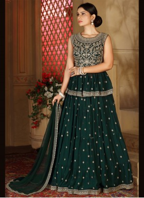 Faux Georgette Fancy Readymade Lehenga Choli in Green