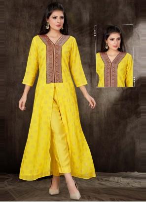 Faux Georgette Fancy Yellow Party Wear Kurti