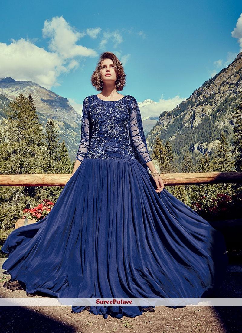 Faux Georgette Festival Floor Length Gown