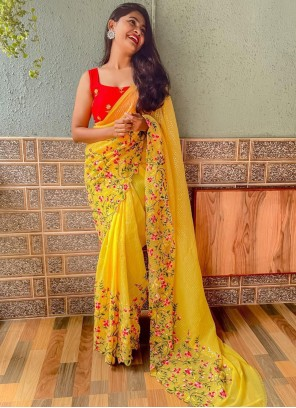 Yellow Faux Georgette Festival Trendy Saree