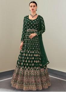 Green Faux Georgette Floor Length Anarkali Suit