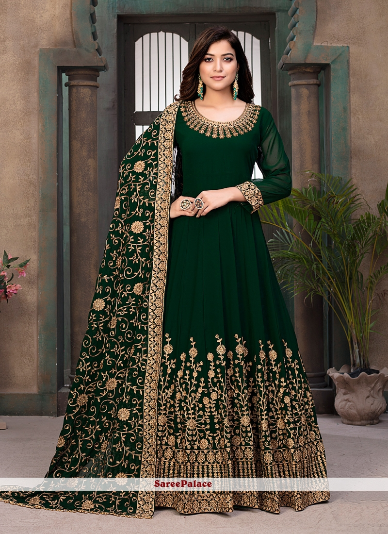 Faux Georgette Floor Length Anarkali Suit in Green