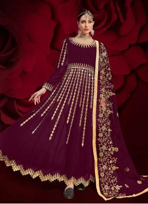 Faux Georgette Floor Length Anarkali Suit in Purple