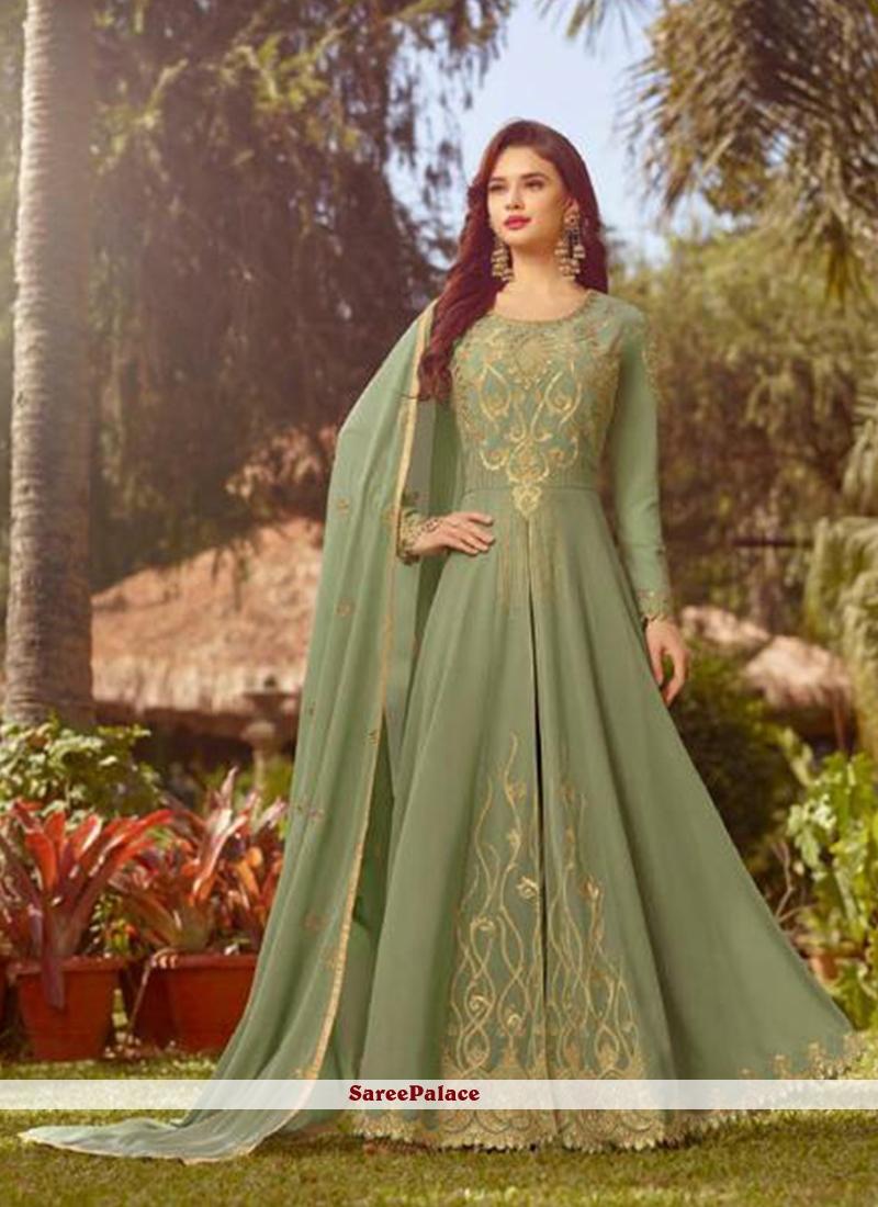 Faux Georgette Floor Length Anarkali Suit in Sea Green