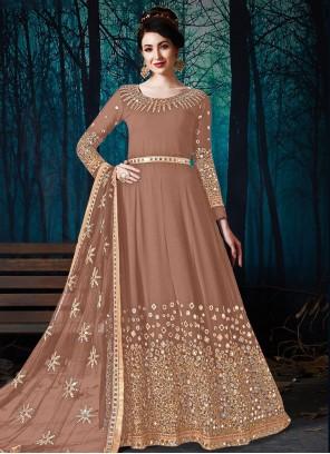 Faux Georgette Floor Length Designer Suit in Brown