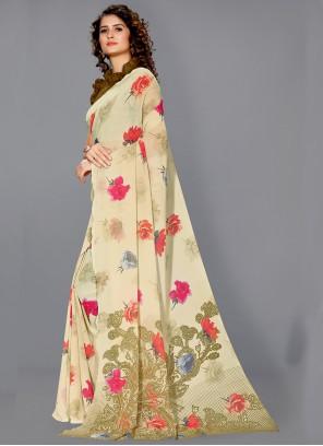 Faux Georgette Floral Print Beige Designer Saree