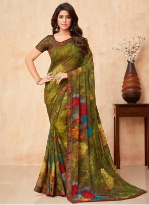 Multi Colour Faux Georgette Floral Print Trendy Saree