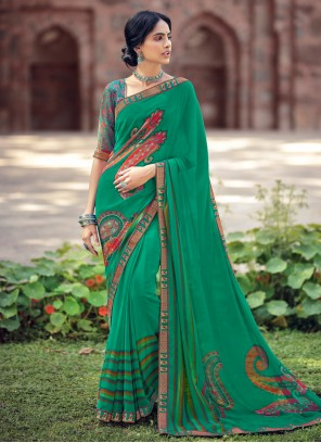 Faux Georgette Green Abstract Print Printed Saree
