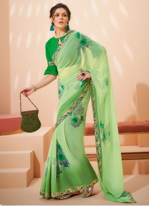 Faux Georgette Green Abstract Print Saree