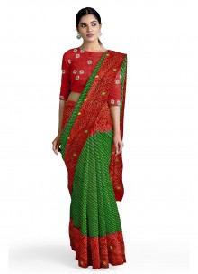 Faux Georgette Green and Red Casual Saree