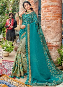 Faux Georgette Green and Sea Green Embroidered Classic Saree