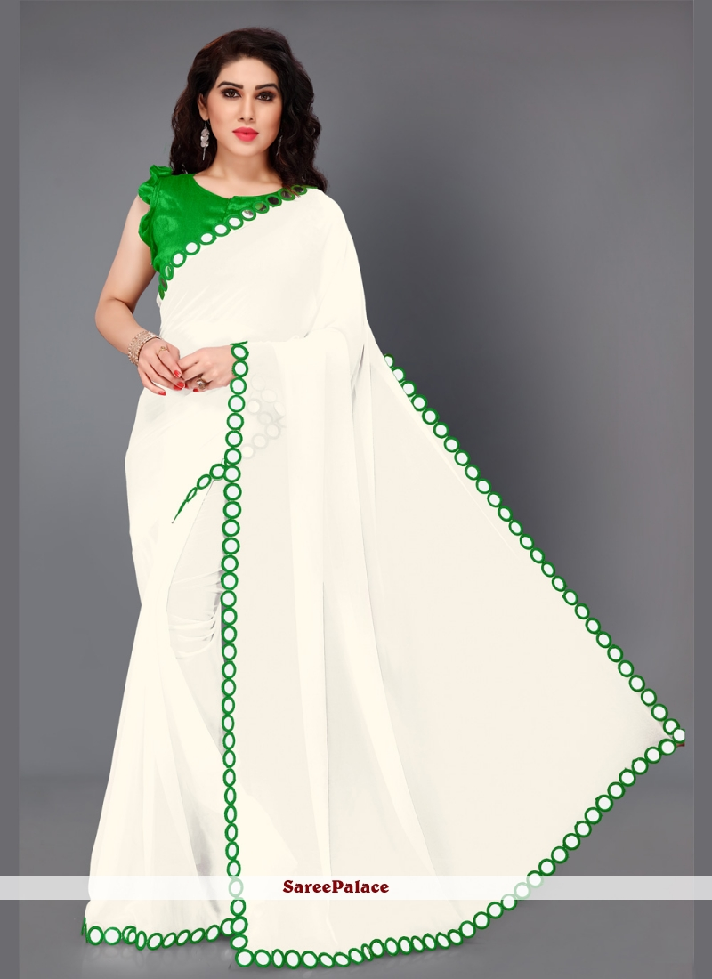 Faux Georgette Green and White Mirror Bollywood Saree