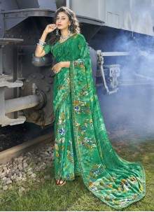 Faux Georgette Green Casual Saree