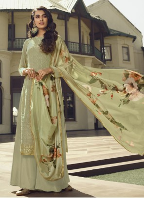 Faux Georgette Green Designer Palazzo Suit