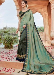 Faux Georgette Green Designer Saree