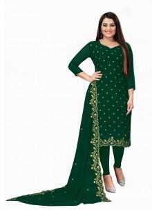 Faux Georgette Green Embroidered Churidar Designer Suit