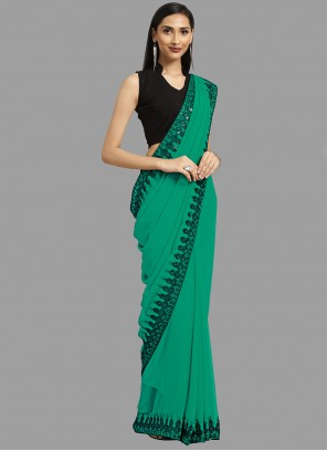 Faux Georgette Green Embroidered Classic Saree