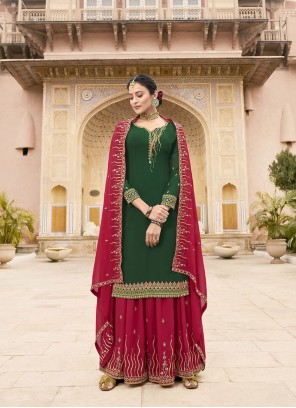 Faux Georgette Green Embroidered Designer Pakistani Suit
