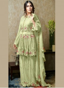Faux Georgette Green Embroidered Salwar Kameez
