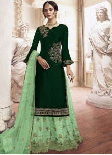 Faux Georgette Green Embroidered Trendy Palazzo Salwar Kameez