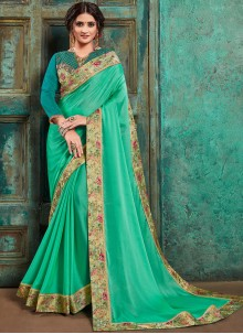 Faux Georgette Green Embroidered Trendy Saree