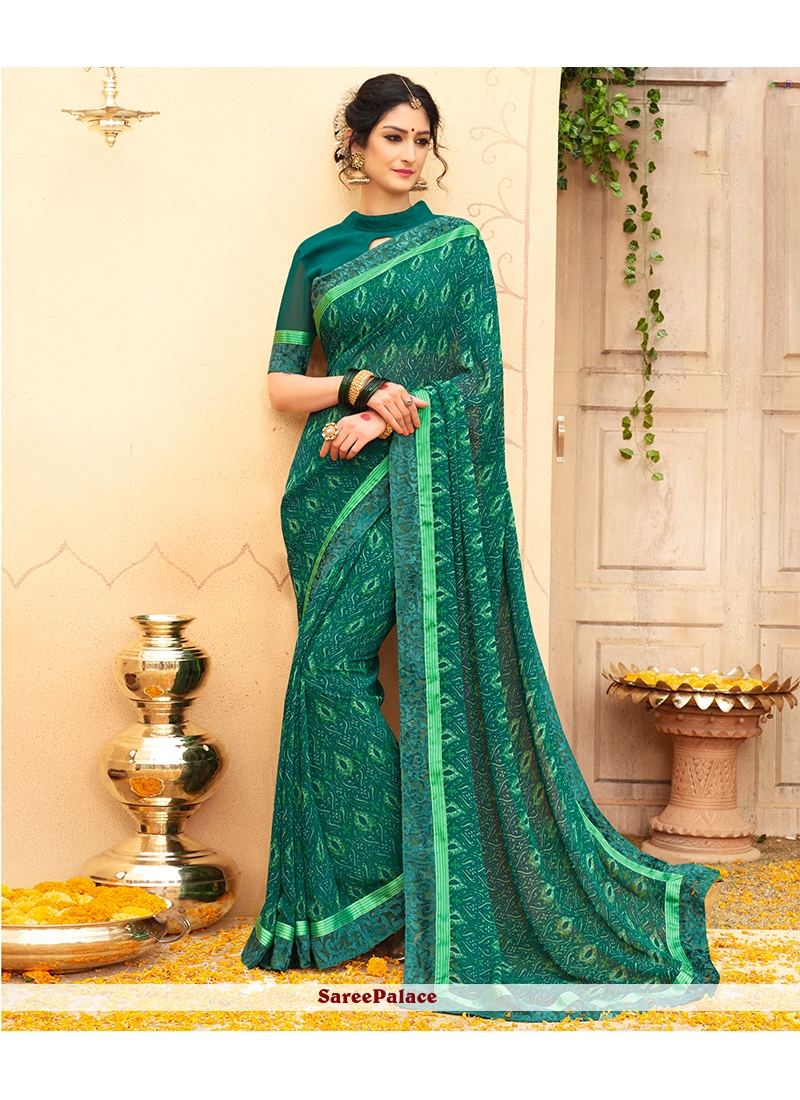 Faux Georgette Green Print Work Casual Saree