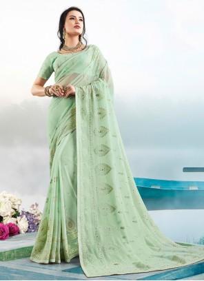 Faux Georgette Green Resham Classic Saree