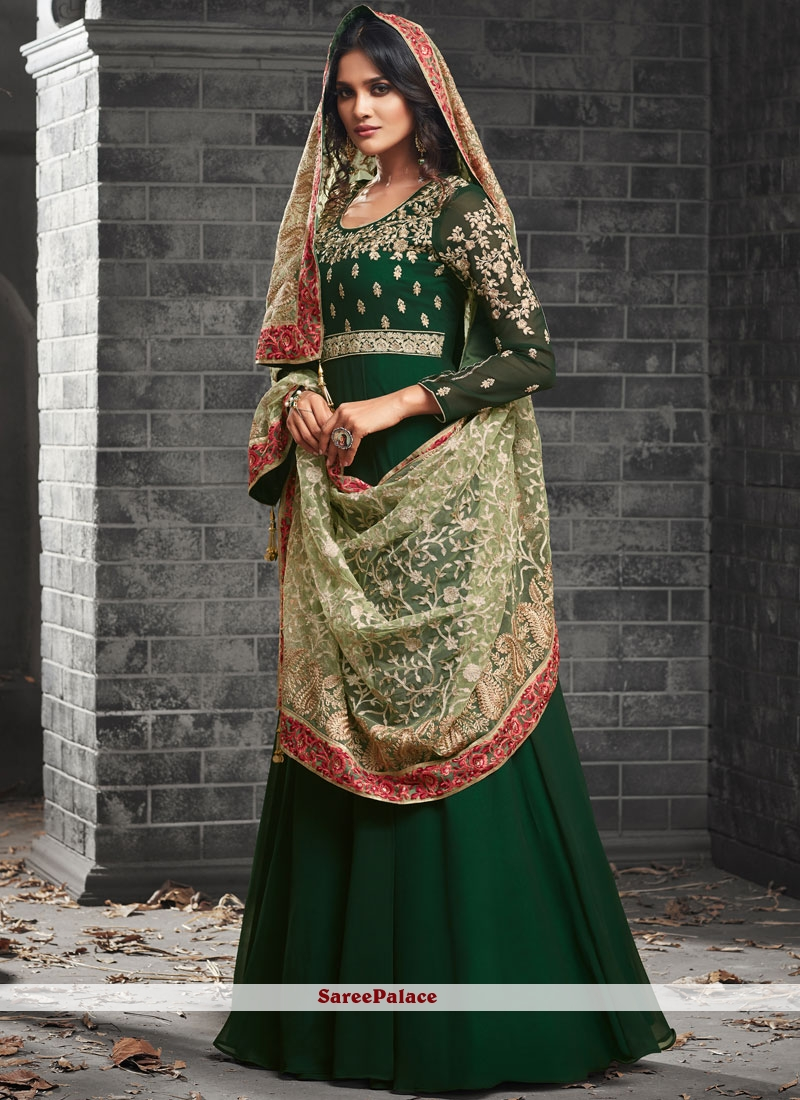 Faux Georgette Green Resham Work Floor Length Anarkali Suit