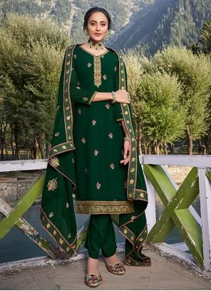 Faux Georgette Green Salwar Kameez