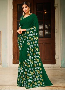 Faux Georgette Abstract Print Green Saree