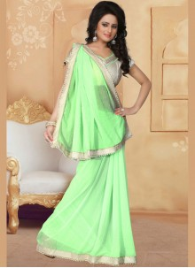 Faux Georgette Green Saree