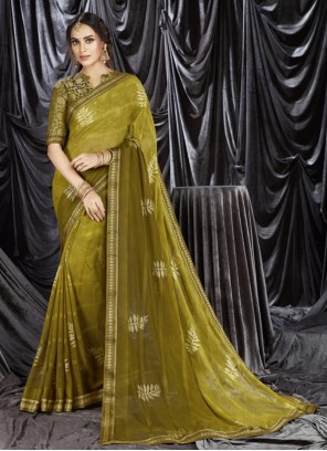Faux Georgette Green Shaded Saree
