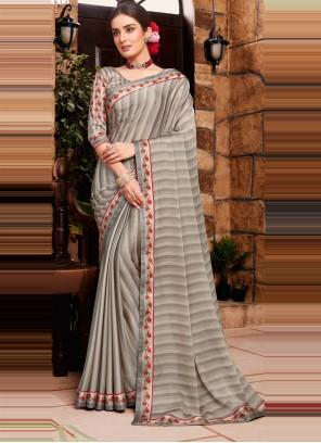 Faux Georgette Grey Classic Designer Saree