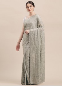 Faux Georgette Grey Embroidered Classic Designer Saree