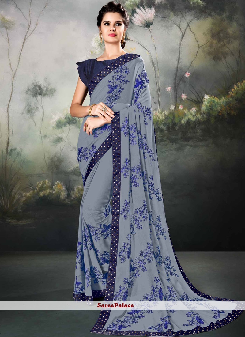 Faux Georgette Grey Embroidered Classic Saree