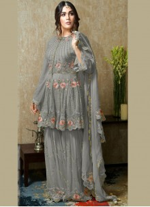 Faux Georgette Grey Embroidered Palazzo Suit