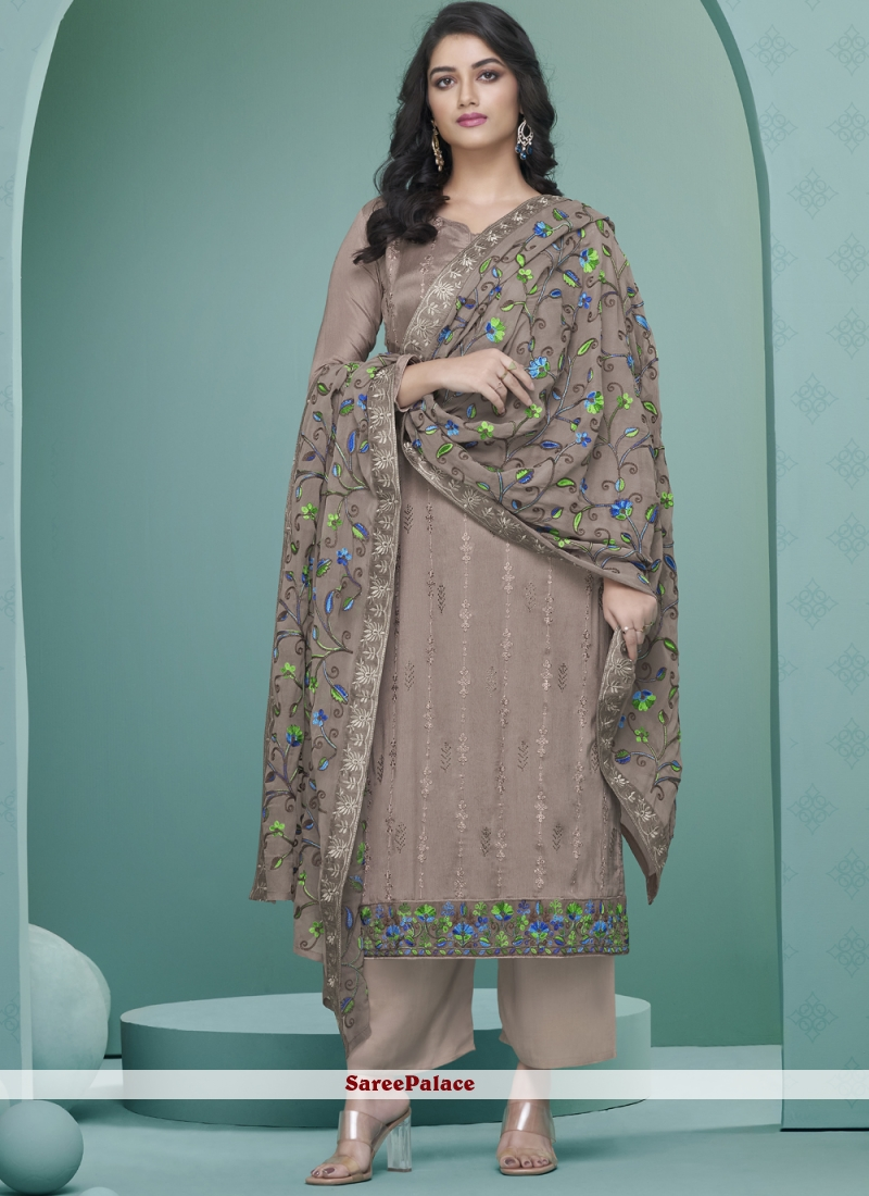 Faux Georgette Grey Embroidered Readymade Suit