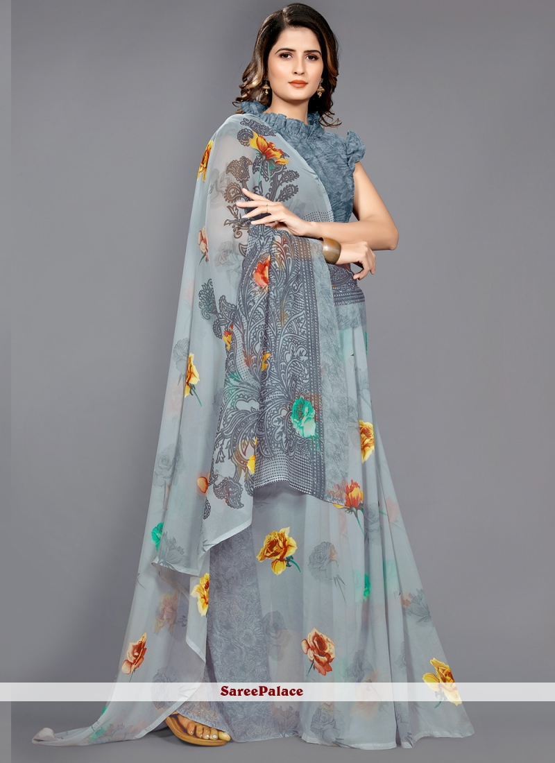 Faux Georgette Grey Floral Print Casual Saree