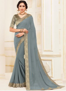 Faux Georgette Grey Patch Border Trendy Saree