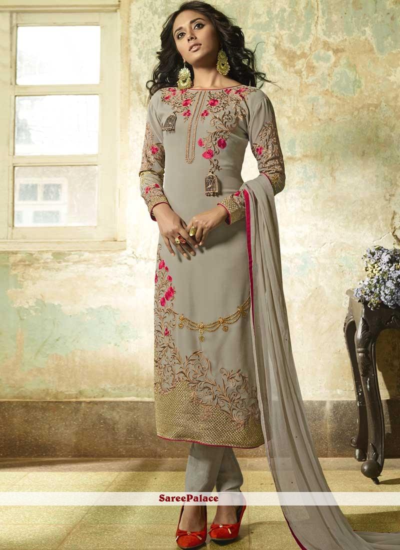 Faux Georgette Grey Resham Churidar Designer Suit