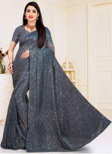 Faux Georgette Grey Sequins Designer Traditional Saree