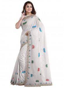 Faux Georgette Handwork Off White Designer Saree