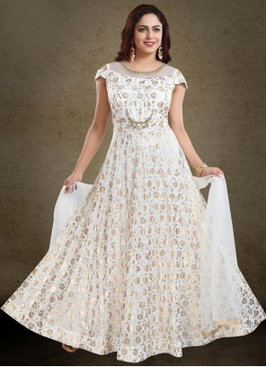 Faux Georgette Handwork  Off White Readymade Gown