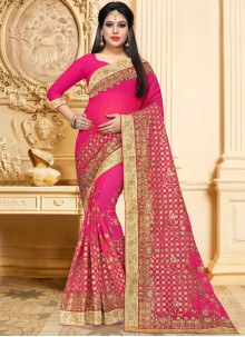 Faux Georgette Hot Pink Classic Saree