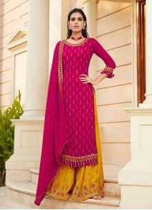 Faux Georgette Hot Pink Designer Palazzo Suit